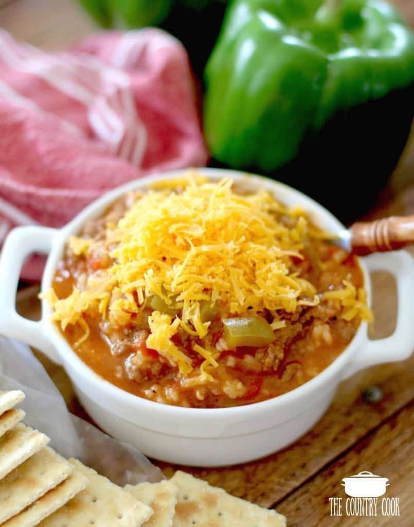 Stuffed Pepper Soup with shredded cheese