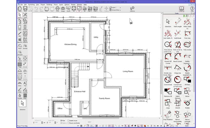 simple floor plan in interface