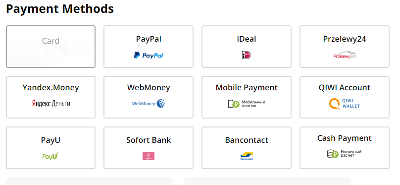 payment methods aliexpress