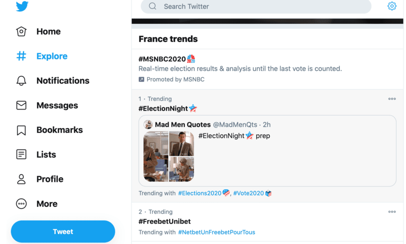 New twitter explore and trends layout