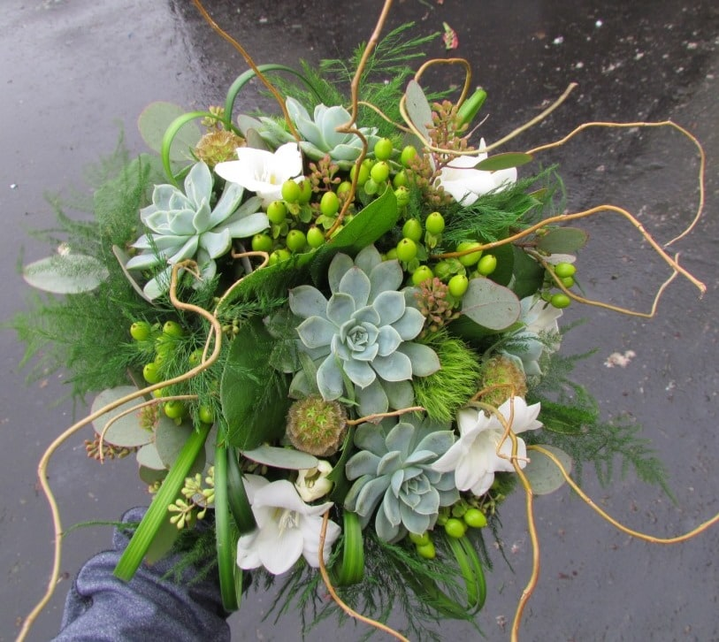 succulent and willow bridal bouquet