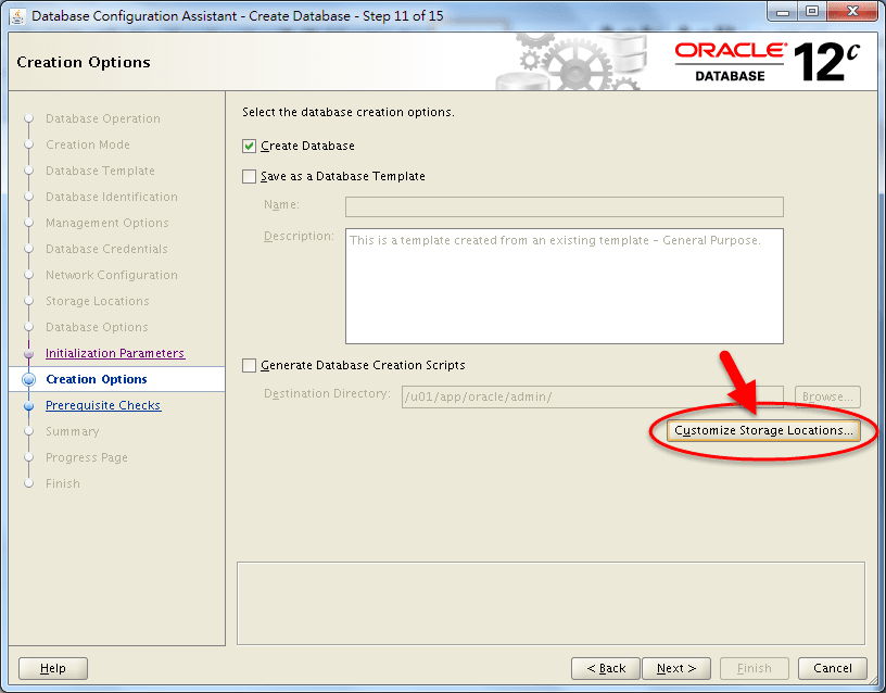 DBCA Storage Configuration - Change Redo Log Size - 01