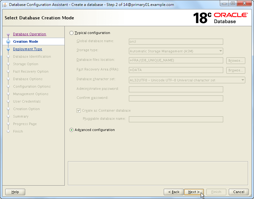 Oracle 18c DBCA - Create a RAC Database - Select Database Creation Mode