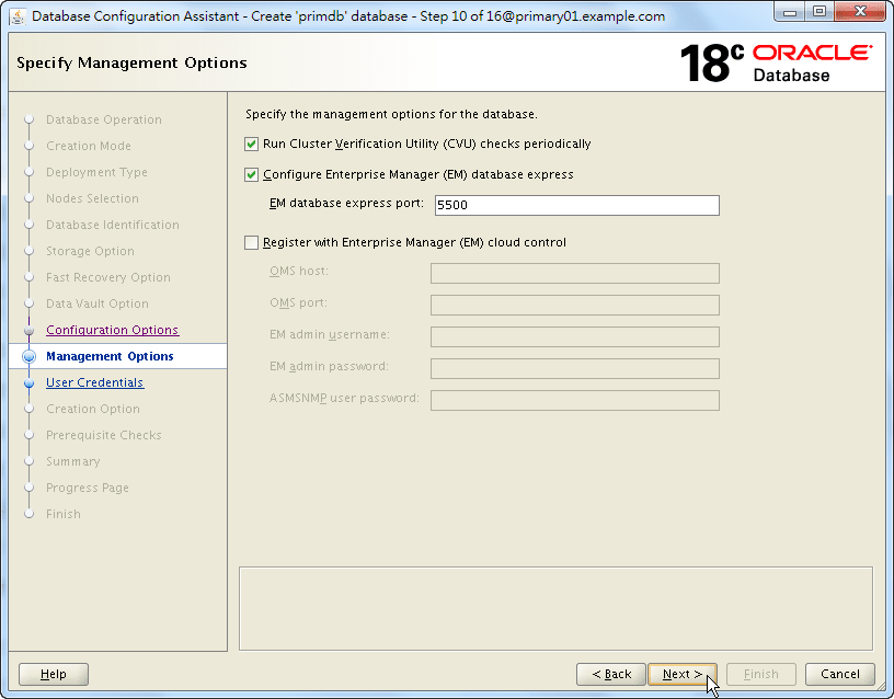Oracle 18c DBCA - Create a RAC Database - Specify Management Options