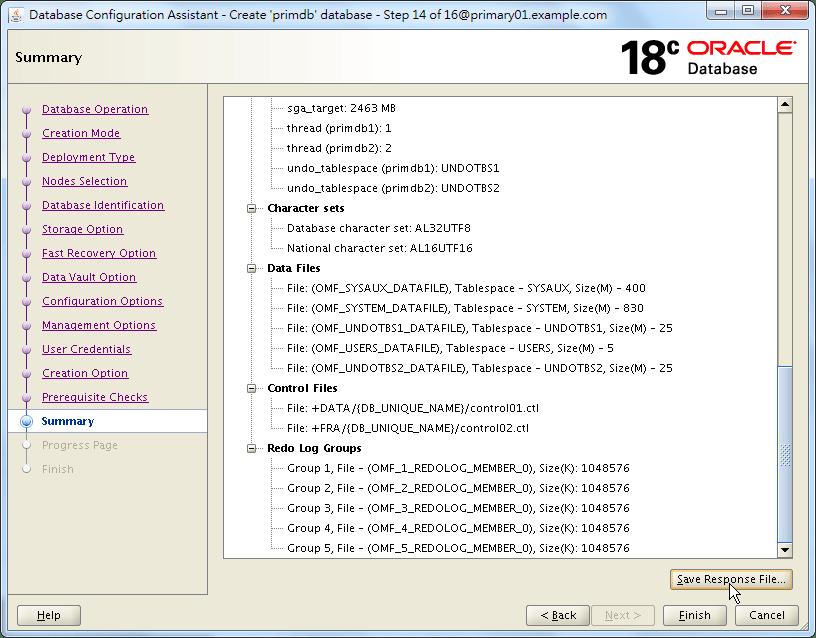 Oracle 18c DBCA - Create a RAC Database - Summary - 3 of 3