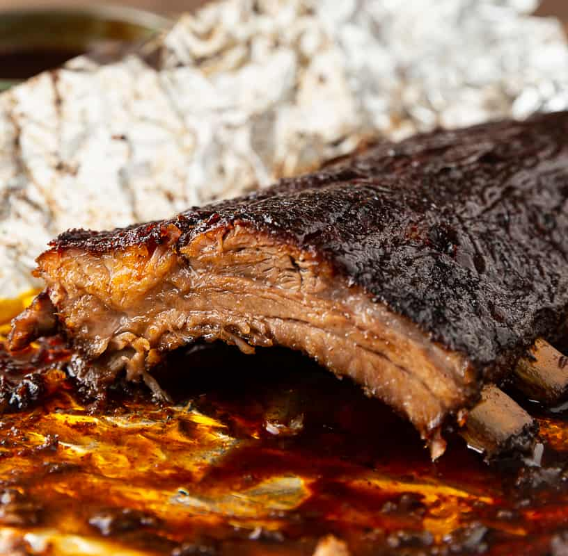 ribs from the oven with bark