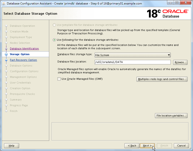 Oracle Database 18c - DBCA - Select Database Storage Option