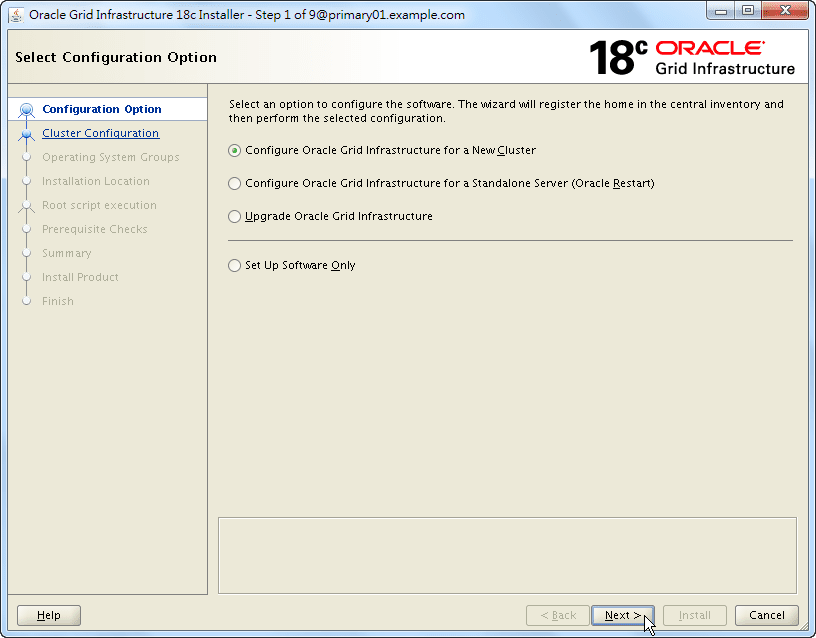Oracle 18c Grid Infrastructure Installation - Select Configuration Option