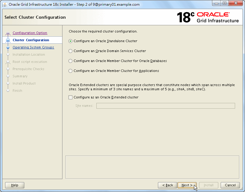 Oracle 18c Grid Infrastructure Installation - Select Cluster Configuration