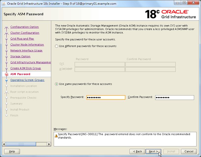 Oracle 18c Grid Infrastructure Installation - Specify ASM Password