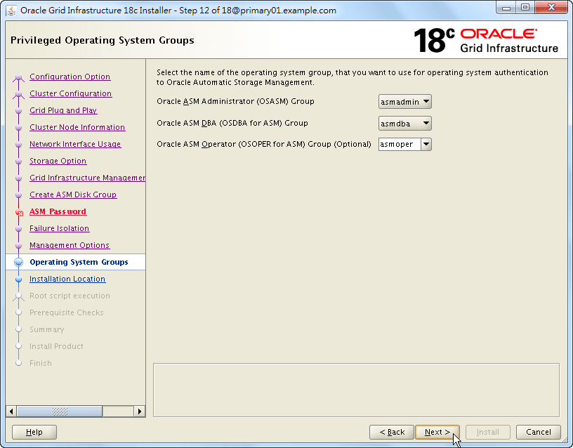 Oracle 18c Grid Infrastructure Installation - Privileged Operating System Groups