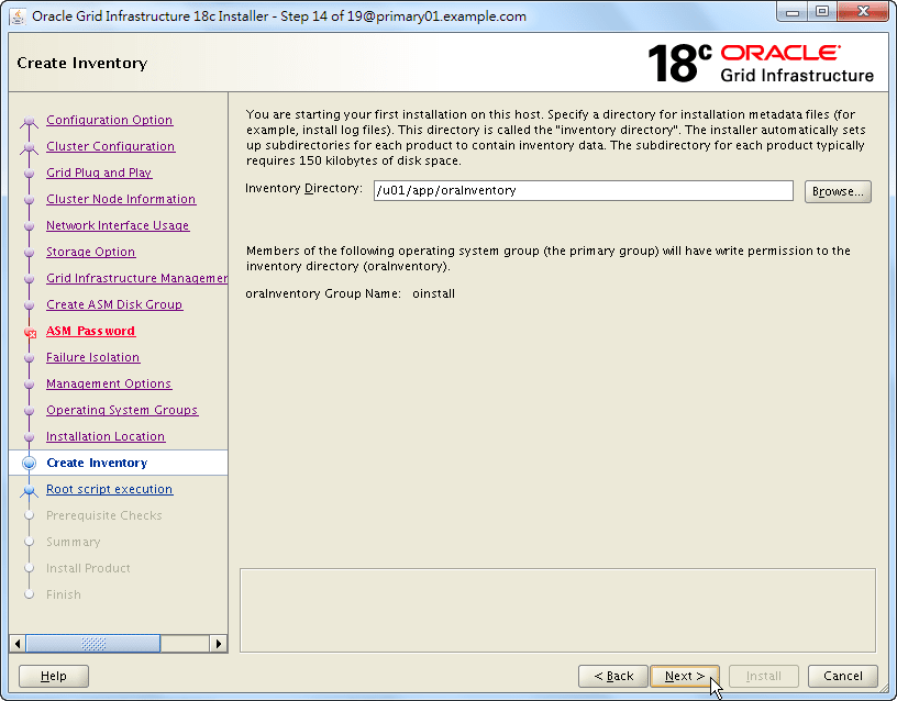 Oracle 18c Grid Infrastructure Installation - Create Inventory