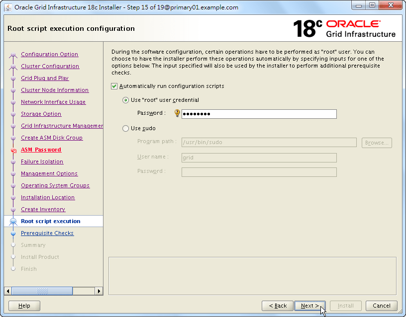 Oracle 18c Grid Infrastructure Installation - Root Script Execution Configuration