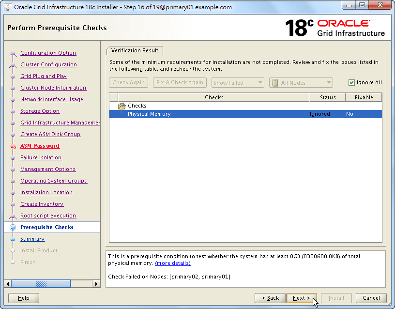 Oracle 18c Grid Infrastructure Installation - Perform Prerequisite Checks - Verification Results