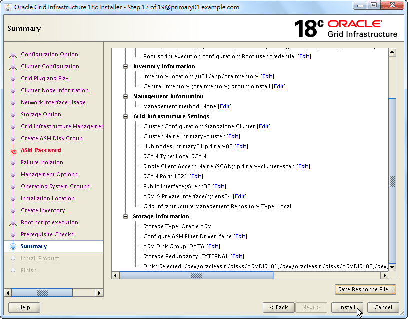 Oracle 18c Grid Infrastructure Installation - Summary - Prepare to Install
