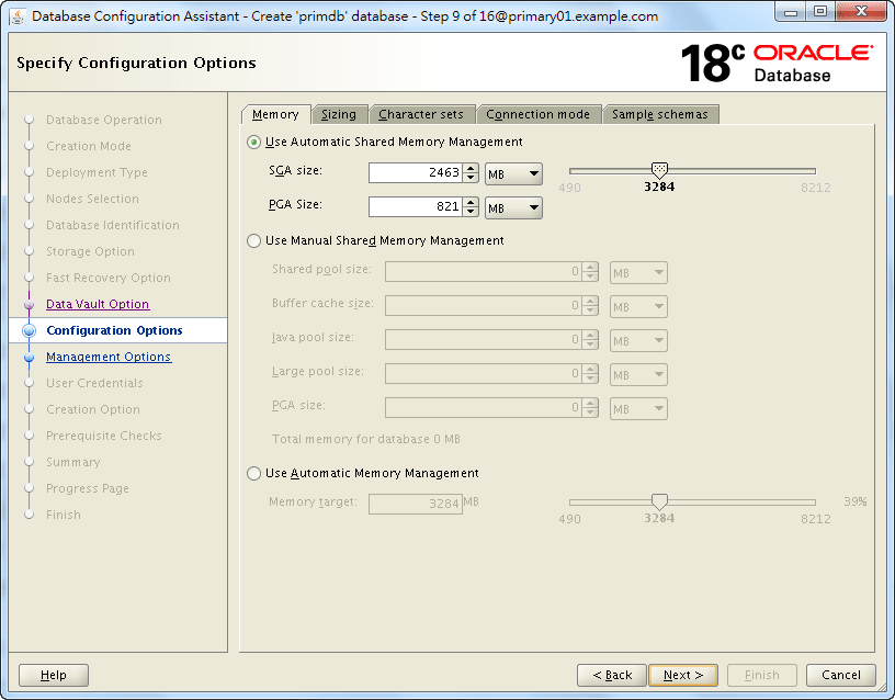 Oracle 18c DBCA - Create a RAC Database - Specify Configuration Options - Memory