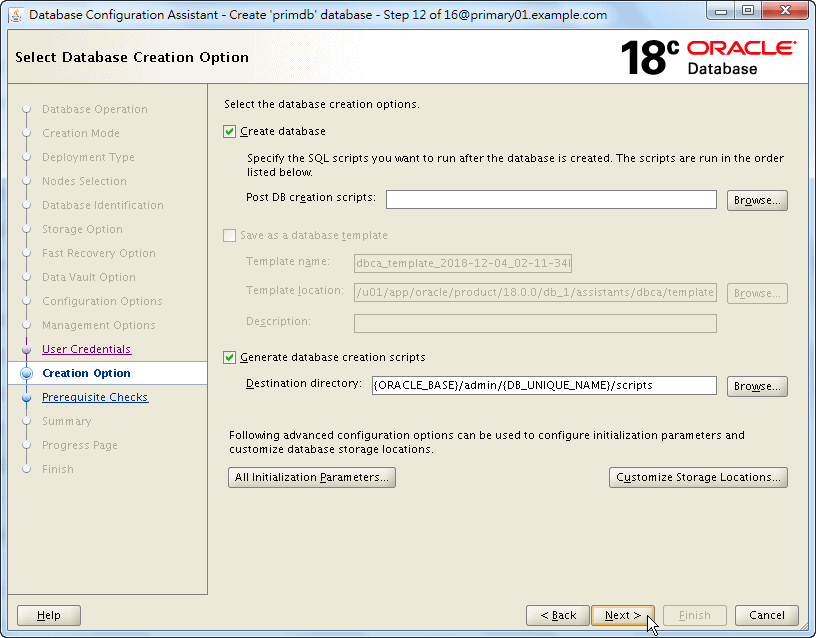 Oracle 18c DBCA - Create a RAC Database - Select Database Creation Option - Click Next