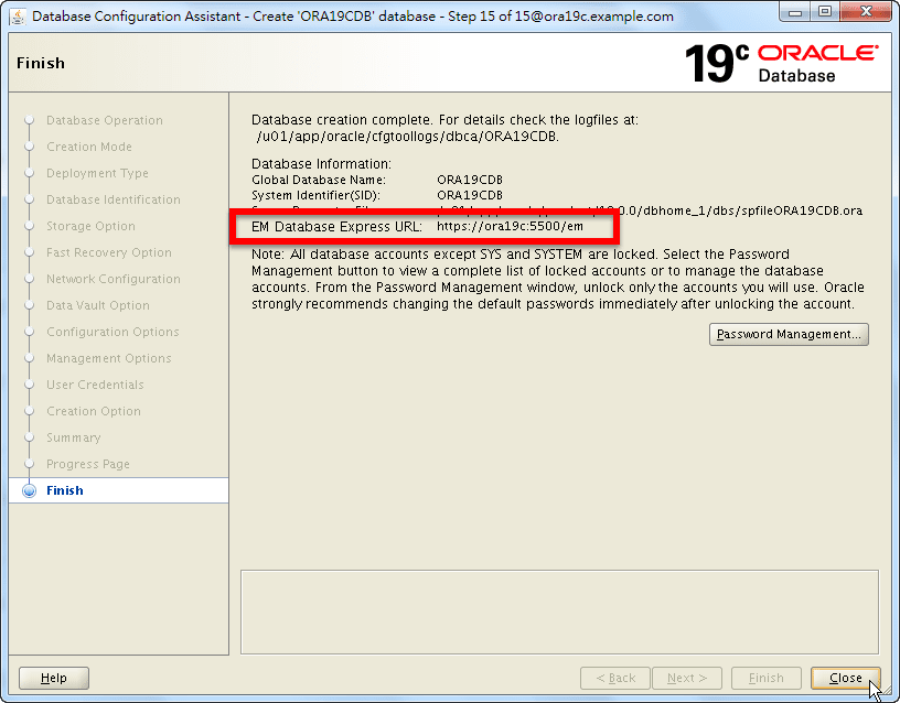 Oracle 19c Database Creation - EM Database Express URL