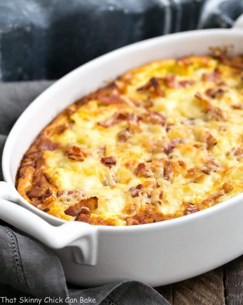 Cauliflower Bacon Gratin | Comforting cheesy cauliflower casserole