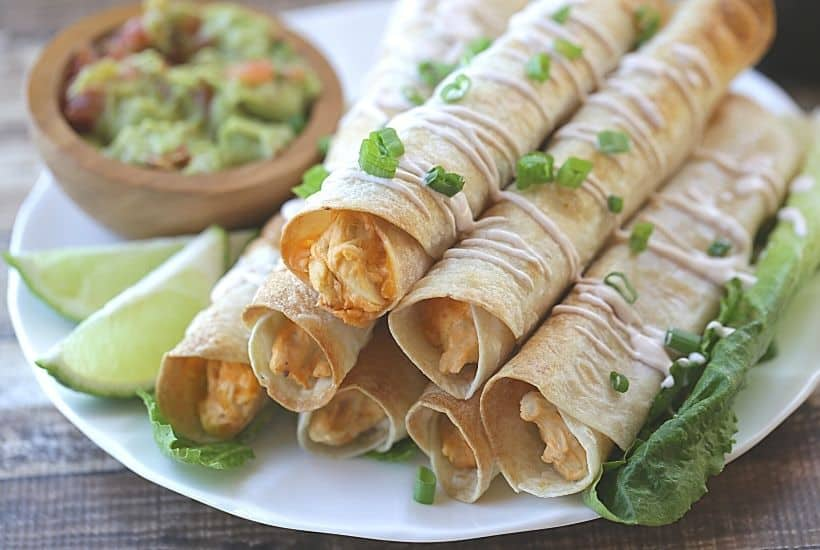 Baked Buffalo Chicken Flautas