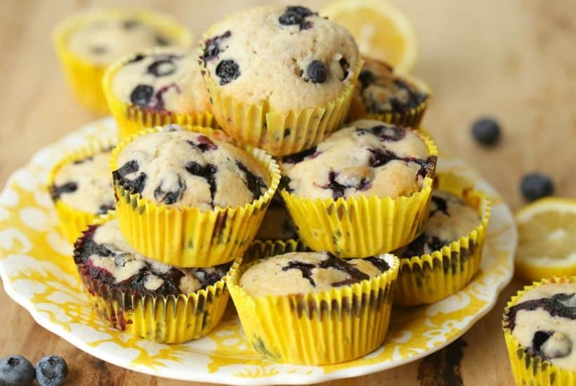 Sweet farm-fresh blueberries and tart lemons pair up for these delicious Lemon Blueberry Muffins. This easy recipe is perfect for breakfast or dessert. This muffin recipe is a delicious twist to the classic blueberry muffins. #lemonblueberrymuffins #blueberryrecipes #blueberrymuffins