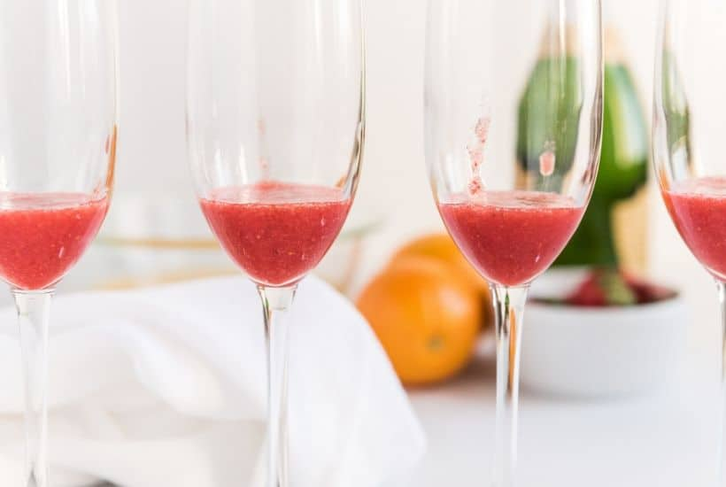 Mimosa Cocktails aren't just for brunch. These Farm Fresh Strawberry Mimosas are great to serve for any party or occasion. This easy cocktail is perfect when strawberries are at their peak.
