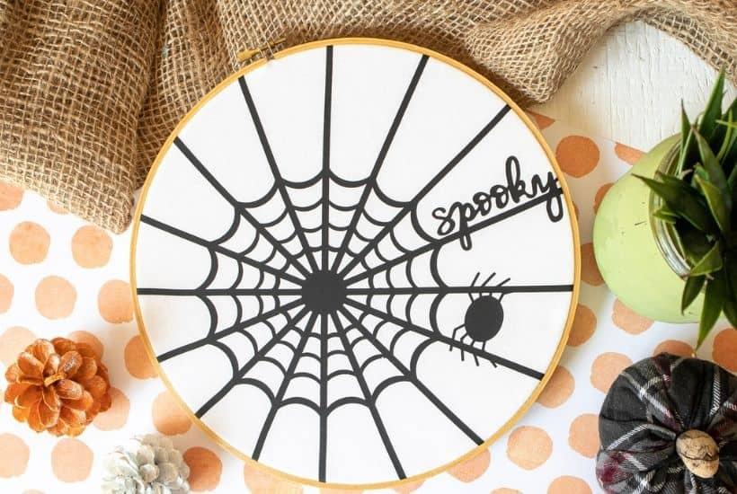 Cricut Spider Web Halloween Hoop Art