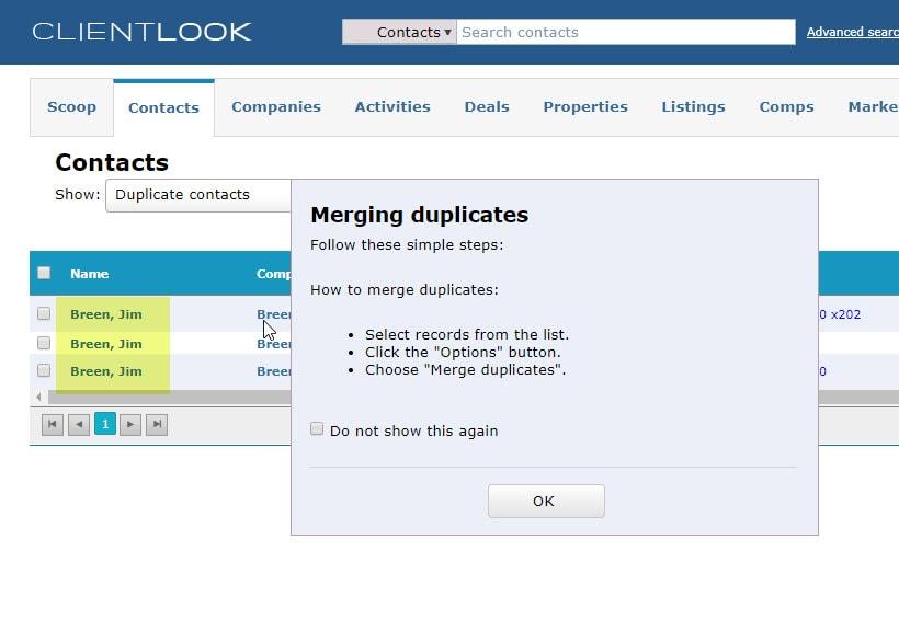 Merge Duplicate Records In ClientLook_3
