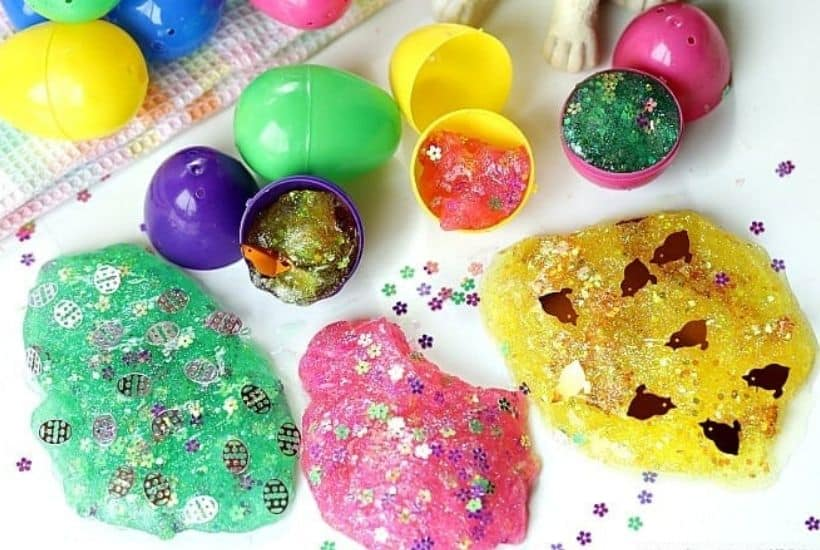 Hippity Hoppity, the kids will go crazy for these fun Easter Egg Glitter Slime! This easy slime craft will keep the kids busy for hours.This Easter Slime is a great party craft too. #slime #slimerecipe #EasterCraft #EasterSlimed