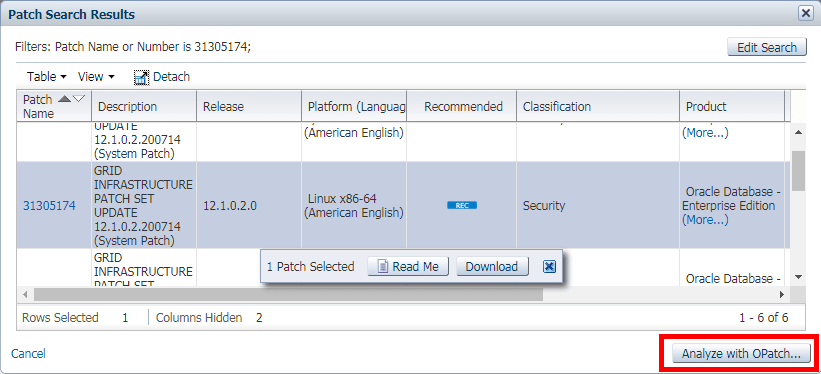My Oracle Support Conflict Checker tool - Select Target Patches