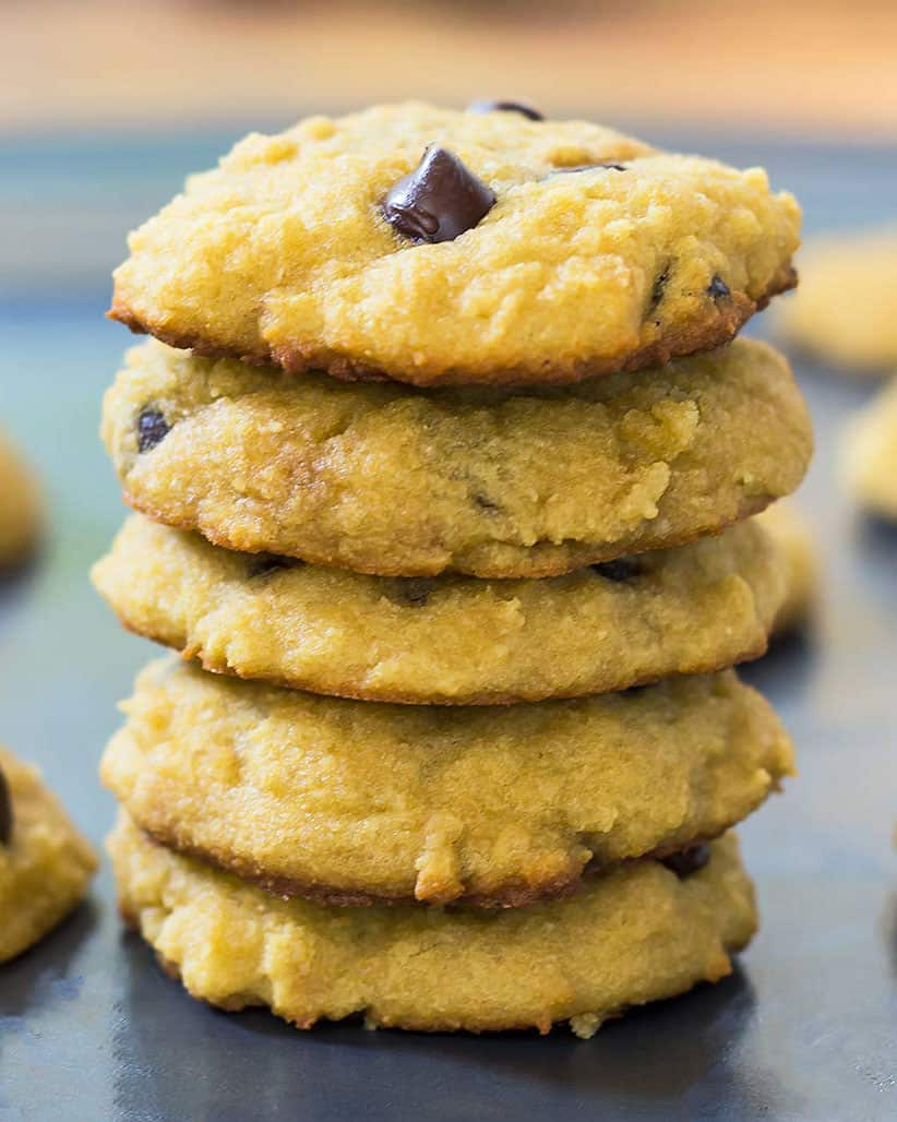 Stack of paleo coconut flour chocolate chip cookies