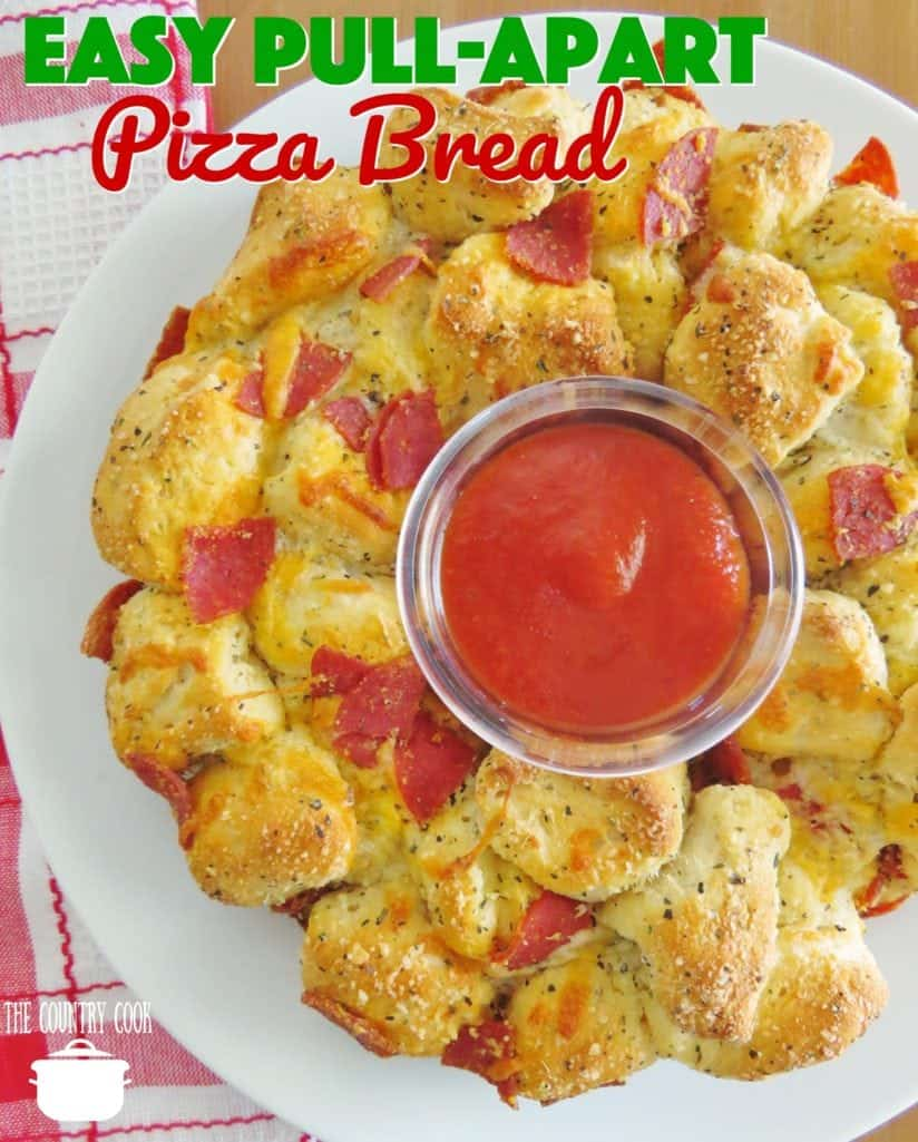 Easy Pizza Pull Apart Pizza Bread recipe from The Country Cook
