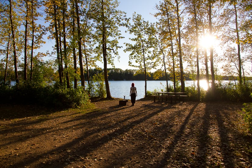 Campsite at a lake in Alberta; camping is one of the best things to do in Alberta