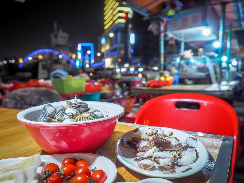 NNQ seafood night market beside La Valse Hotel in Busan
