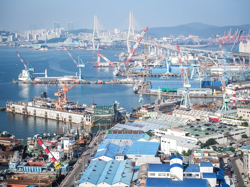 Busan Port viewed from La Valse Hotel, Busan