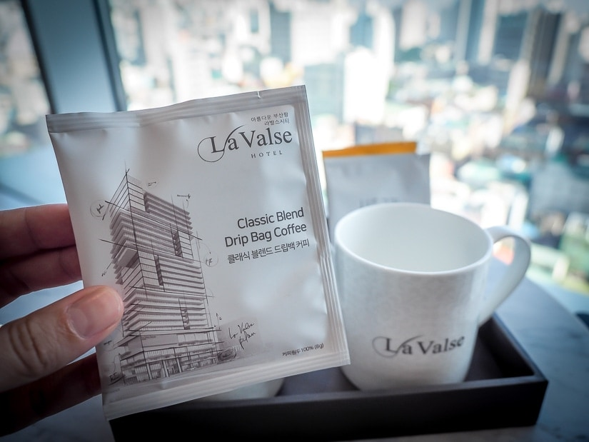 Coffee packets in La Valse hotel room
