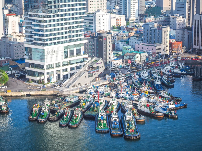 Boats in Busan Harbor at the bottom of La Valse Hotel