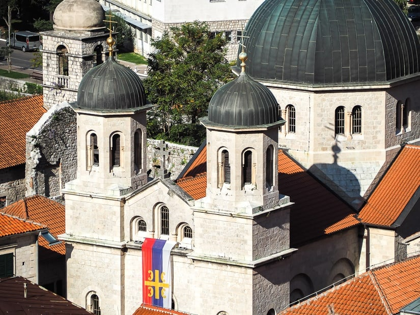 Shot from above of the Church of St. Nicholas in Kotor Stadi Grad
