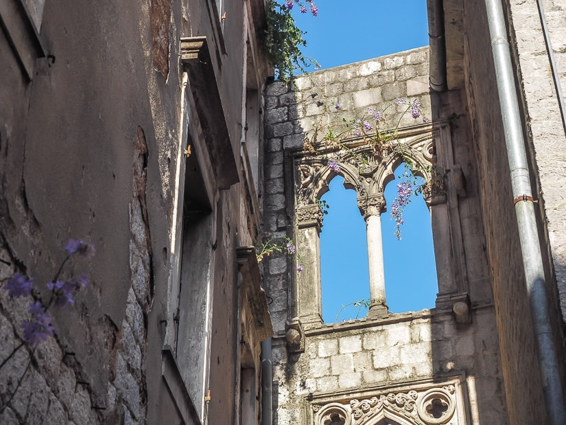 Ruins of a monastery in the Old City of Kotor