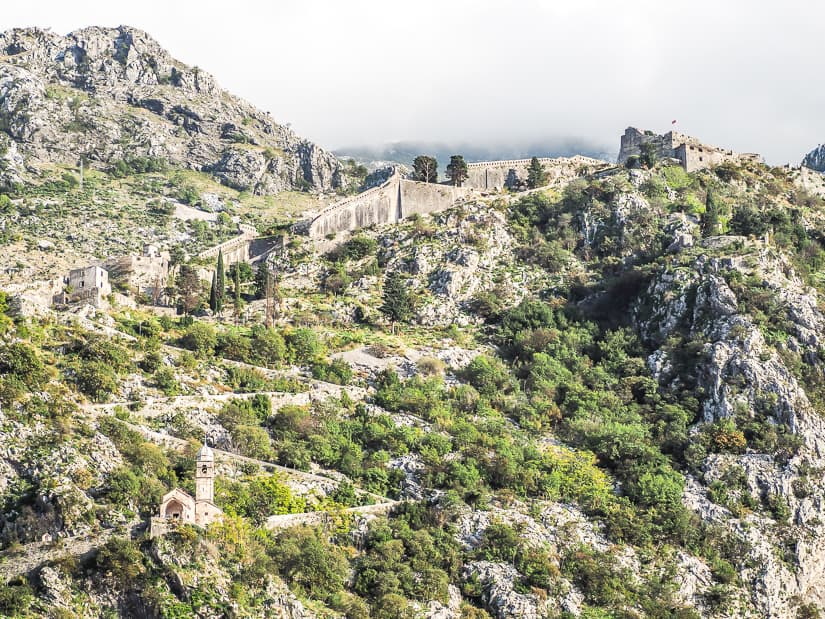 Hiking trail to Kotor Fortress (Saint John's Fortress), with the Church of Our Lady of Remedy