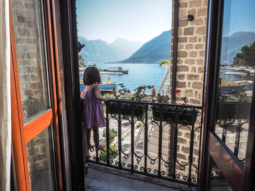 My daughter on the balcony of our Perast accomodation