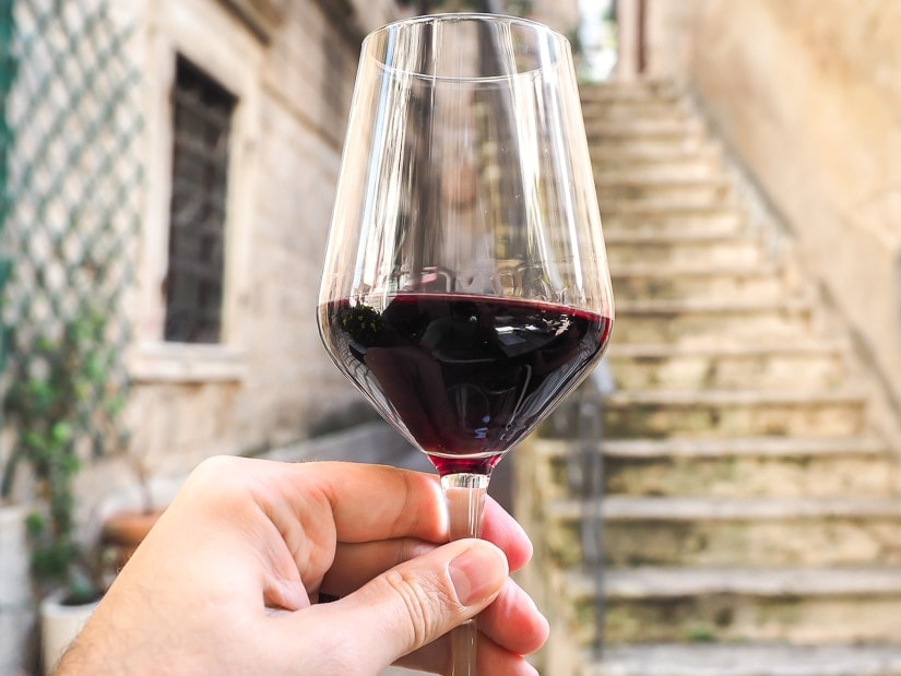 Glass or red Montenegrin wine in Kotor