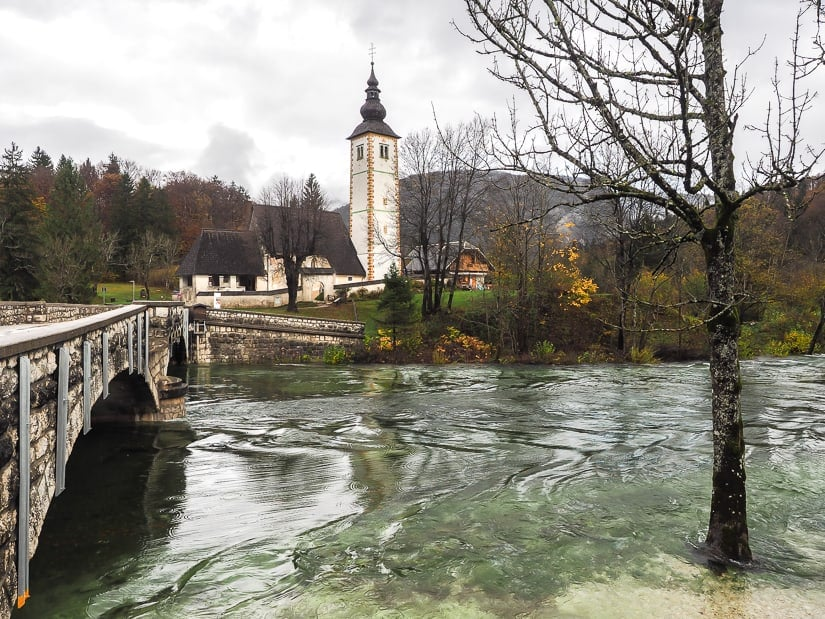 Lake Bohinj when the water is high after rain in autumn