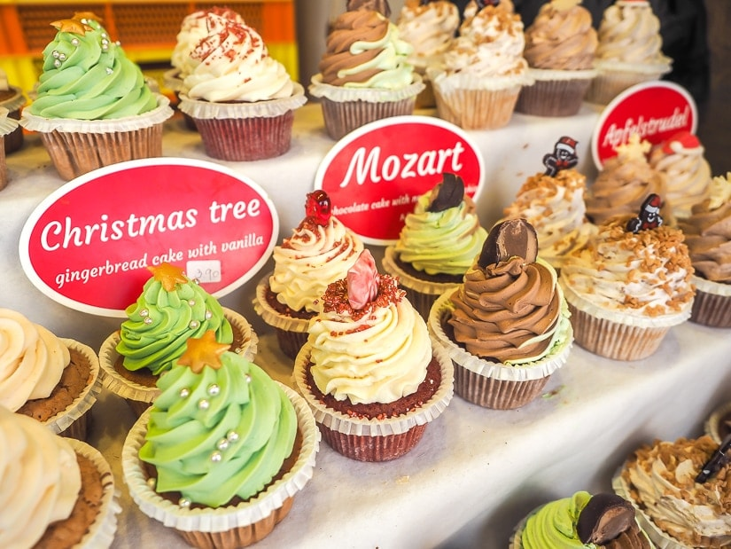 Colorful cupcakes at Belvedere Christmas Market, Vienna
