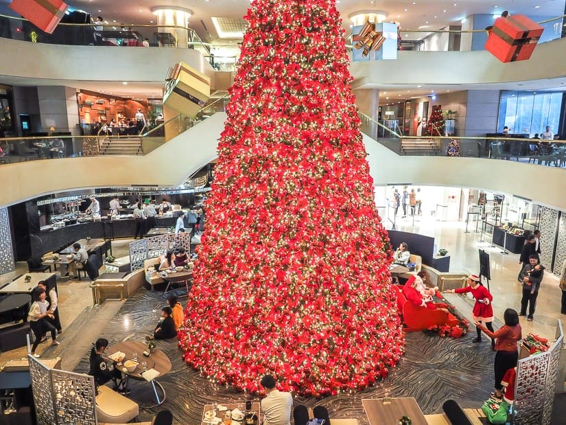 Giant Christmas tree and Santa Claus in Taipei at the Regent Hotel