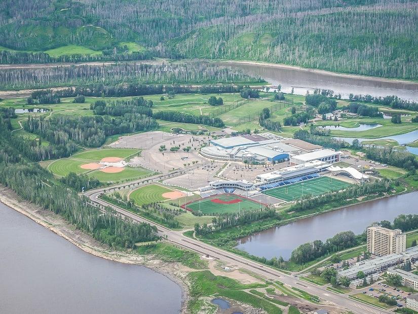Aerial shot of Macdonald Island Park (Mac Island Park) on Fort McMurray