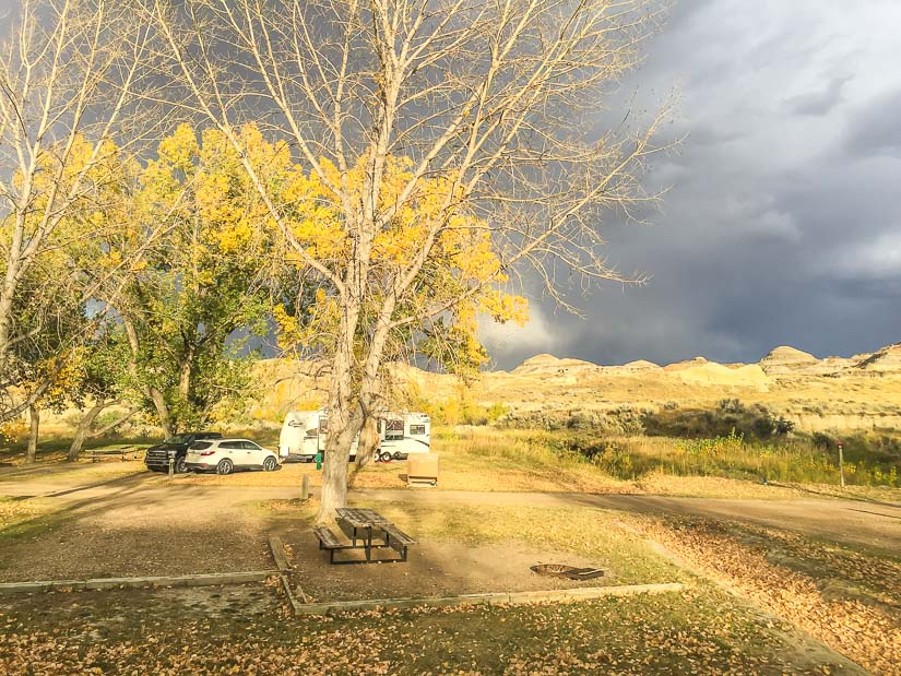 Gray clouds above Dinosaur Campground