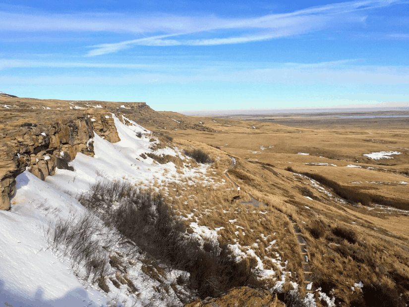 Anicent buffalo jump at Head-Smashed-In Provincial Park in Alberta