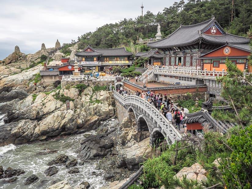 Crowds of people at Haedong Yonggungsa Temple