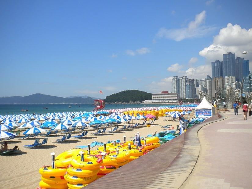 Summer beach umbrellas on Haeundae, the most popular beach in Busan